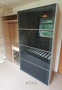 Ikea pax double wardrobe black glass sliding doors white stained oak finish