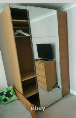 Ikea pax wardrobe 2 x sliding doors 236cm x 75cm Mirror Auli +Mehamn + fittings