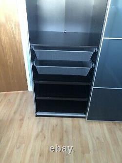 Ikea pax wardrobe sliding doors in VGC gloss navy blue door and mirrored door
