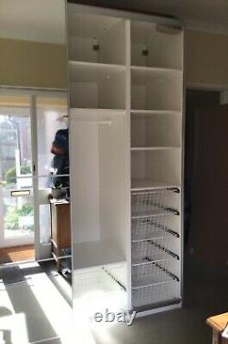 Ikea pax wardrobe with mirror sliding doors. W200 H236 D66