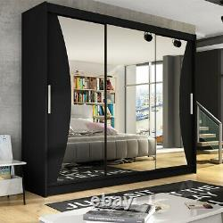 Large Wardrobe Sliding Doors Mirror LED Rail Shelves 6 colours Closet 250cm NEW