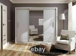 Large bedroom set CLEO 1 white wardrobe 250cm chest 2 x bedsides