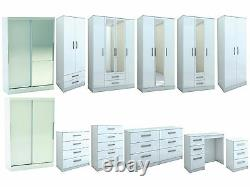 Lynx All White Gloss Bedroom Furniture Wardrobe Chest by Birlea Large Sizes