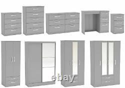 Lynx Grey Gloss Bedroom Furniture Wardrobe Chest Bedside Desk by Birlea