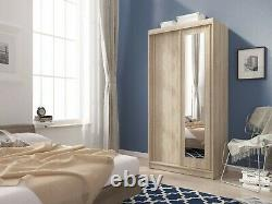 MINI SLIDING DOORS BEDROOM SMALL MIRRORED WARDROBE WHITE LIGHT OAK BROWN W100cm