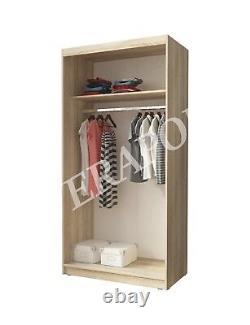MIRRORED WARDROBE sliding door bedroom hallway living furniture 100cm or 200cm
