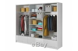MODERN WARDROBE 250cm 3 drawers 3 sliding doors bedroom WHITE GLOSS FRONT (PIAR)
