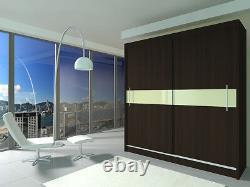 MODERN WARDROBE sliding doors shelves MIRROR / LACOBEL bedroom furniture 200cm