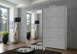 Malmo Concrete Grey Large Mirrored Sliding 2 Door Wardrobe Bedroom Furniture