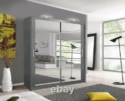 Milan Bedroom Sliding door Wardrobe (6 Sizes) (4 Colour) With LED