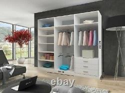 Milan Modern Bedroom 2 or 3 Sliding door Wardrobe 6 Sizes 4 Color
