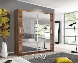 Milan Modern Bedroom 2 or 3 Sliding door Wardrobe 6 Sizes 4 Color with LED