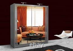 Mirror Double Sliding Door Mirror Wardrobe TWO LED Light Optional FIVE SIZES
