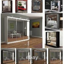 Mirror Sliding 2 or 3 Door Wardrobe Chicago Available Colors SIX with LED Light