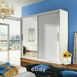 Mirror Wardrobe 4 Colours Sliding Doors Hanging Rail Shelves Modern Closet 180cm