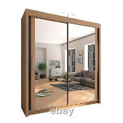 Modern 2 & 3 Sliding door Wardrobe Chicago-1 for Bedroom with LED Light 6 Sizes
