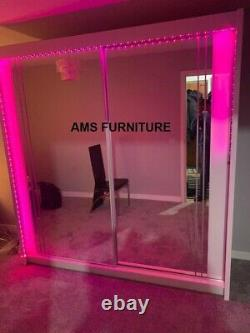 Modern 2 Door Mirrored Sliding Wardrobe With Full Glass, High Gloss Strip & Led
