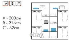 Modern Bedroom Double Mirror Door Sliding Wardrobe BATUMI 4 Colors 1 Led Light