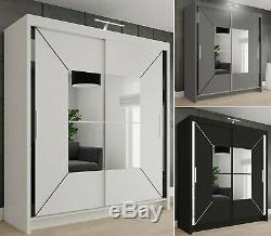 Modern Bedroom Double Sliding Door Wardrobe with LED LIGHT 3 COLOURS 4 SIZES