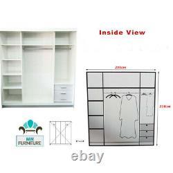 Modern Bedroom FULL MIRROR Sliding Double Door Wardrobe ETNA 3 COLORS 3 SIZES
