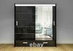 Modern Bedroom Florence High Gloss Sliding door Wardrobe 205cm Width Long LED