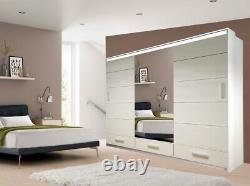 Modern Bedroom High Gloss Sliding door Wardrobe 2 Sizes 3 Colours with Long LED