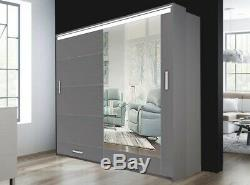 Modern Bedroom High Gloss Sliding door Wardrobe 2 Sizes 3 Colours with Long LED