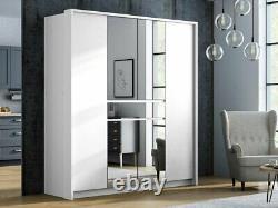 Modern Bedroom Mirror Not-Sliding Door Wardrobe DAKO SPLIT 200 THREE COLOURS