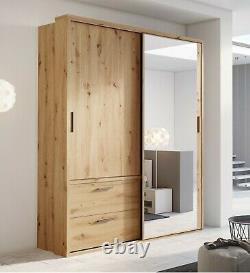 Modern Bedroom Mirror Sliding Door Wardrobe ARTI 22 180cm Oak Artisan With LED