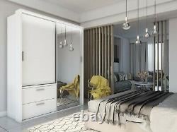 Modern Bedroom Mirror Sliding Door Wardrobe ARTI 22 180cm in Matt White With LED