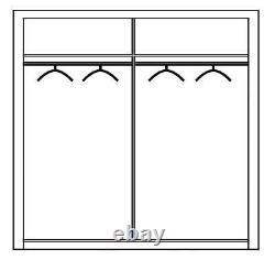 Modern Bedroom Mirror Sliding Door Wardrobe CARPATIA 215cm in Matt White