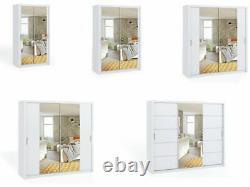 Modern Bedroom Mirror Sliding Door Wardrobe DAKO 11 White in 5 SIZES