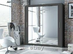 Modern Bedroom Mirror Sliding Door Wardrobe DAKO 3 Optional LED 3 COLORS 5 SIZES