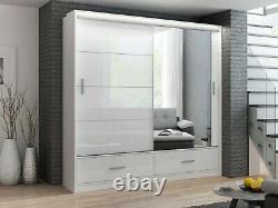 Modern Bedroom Mirror Sliding Door Wardrobe DAKO 4 White, Grey, Black 2 Sizes