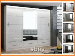 Modern Bedroom Mirror Sliding Door Wardrobe DAKO 8 White, Grey, Black In 2 Sizes