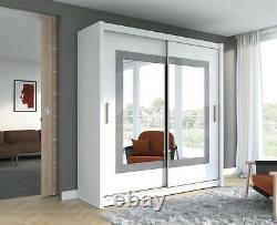 Modern Bedroom Mirror Sliding Door Wardrobe DAKO PRESTON White Matt 2 Sizes