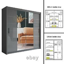Modern Bedroom Mirror Sliding Door Wardrobe LISBON GREY Available in Two Size