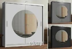 Modern Bedroom Mirror Sliding Door Wardrobe MOON with Led Light 3 COLORS 2 SIZES
