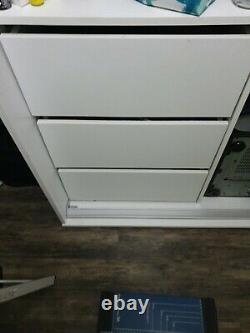 Modern Bedroom Mirror Sliding Door Wardrobe White BARGAIN REDUCED