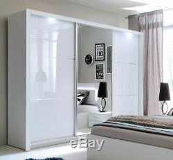 Modern Bedroom Sliding Door Wardrobe SIENA 11 208cm in White Gloss with LED
