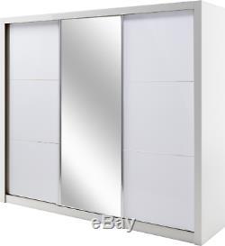 Modern Bedroom Sliding Door Wardrobe SIENA 12 258cm in White Gloss with LED