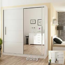 Modern Bedroom Sliding Door Wardrobe with Mirror DAKO VISTA White 4 Sizes