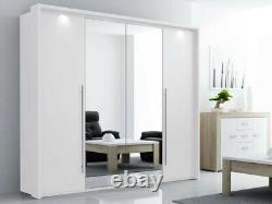 Modern Bedroom Sliding-Folding Door Wardrobe with Mirror DAKO 8 White or Grey