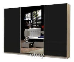 Modern Bedroom Wardrobe Three Sliding Doors Solid Rail Shelfs Mirror Fox 270