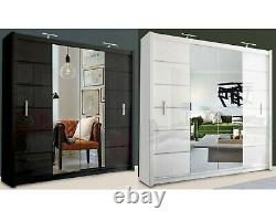 Modern Double Sliding Door Wardrobe Center Mirror LISBON 2 COLOURS 2 SIZES