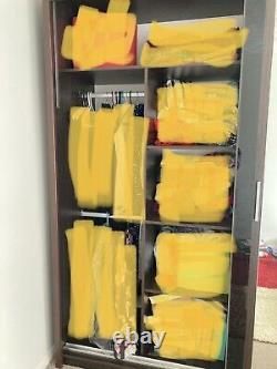 Modern Double Sliding Door Wardrobe Mirror CHICAGO Wenge Colour 1 LED 203 Cm