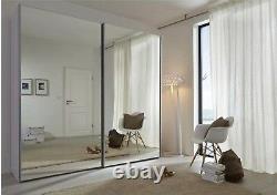 Modern Komet White German Mirror Sliding Wardrobe Door 202cm 301cm