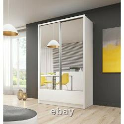Modern WARDROBE sliding doors WITH MIRRORS & GLOSS FRONT DRAWERS 4 SIZES PIAR