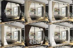 Modern Wardrobe NOTSA 5 with Sliding Doors Mirror Hanging Rail Shelves 250 cm