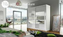 Modern design 180 cm wide Wardrobe TOLEDO mirror 2 sliding door bedroom